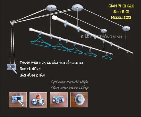 Giàn phơi inox Series B – 01 model 2013